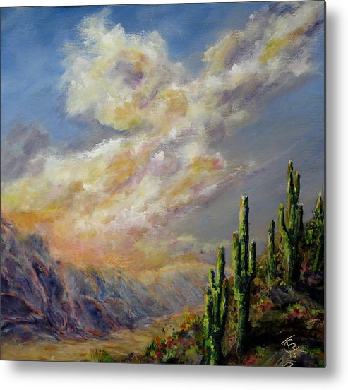 Larizona Andscape Metal Print featuring the painting Summer Sunrise by Thomas Restifo