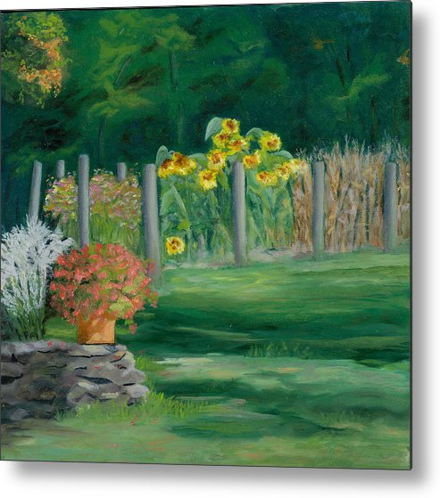 Landscape Metal Print featuring the painting The Farm Gardens by Paula Emery