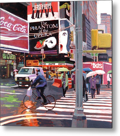 Urban Metal Print featuring the painting Times Square Umbrellas by Patti Mollica
