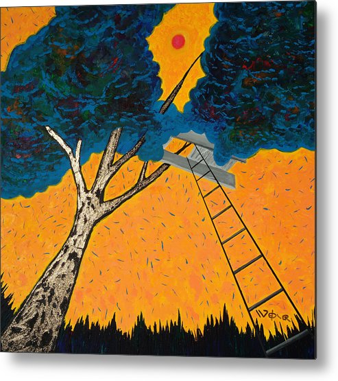 Treehouse Metal Print featuring the painting Treehouse by Randall Weidner