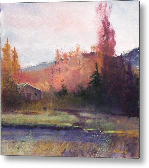 Landscape Metal Print featuring the painting Yaak Cabin by Dalas Klein