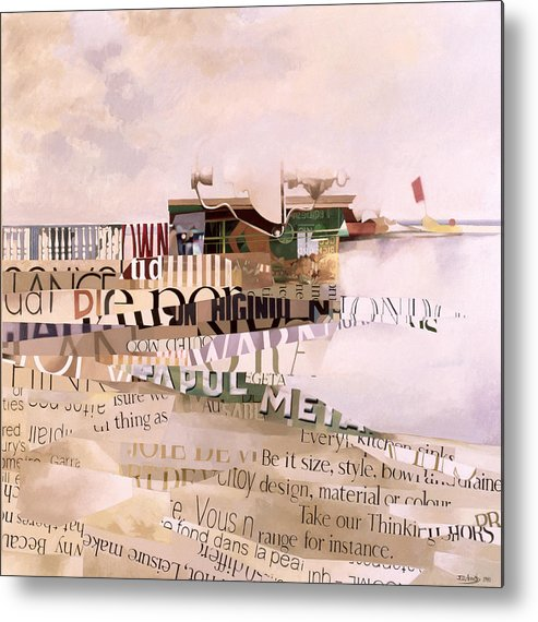Abstract; Writing; Script; Type; Phrase; Bilingual; Surrealist;language; Lettre; Mot Metal Print featuring the painting Out Of Season by Jeremy Annett