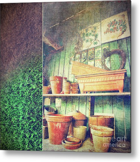 Basket Metal Print featuring the photograph Lots Of Different Size Pots In The Shed by Sandra Cunningham