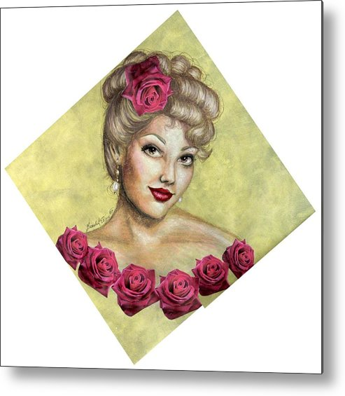 Portrait Metal Print featuring the drawing Rose by Scarlett Royal