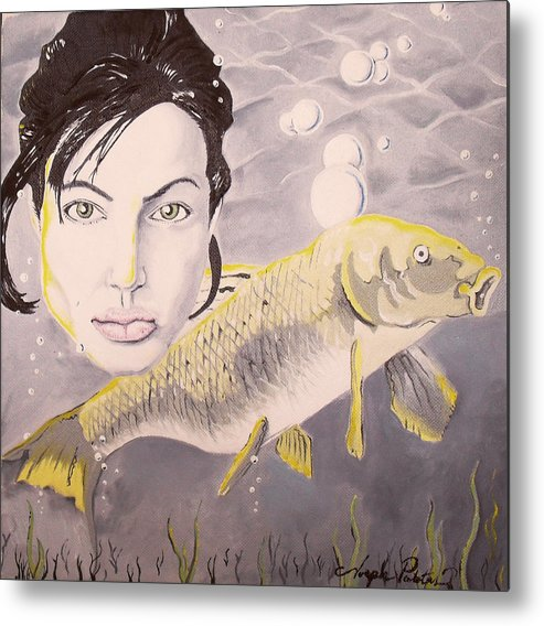 Angelina Metal Print featuring the painting A Fish Named Angelina by Joseph Palotas