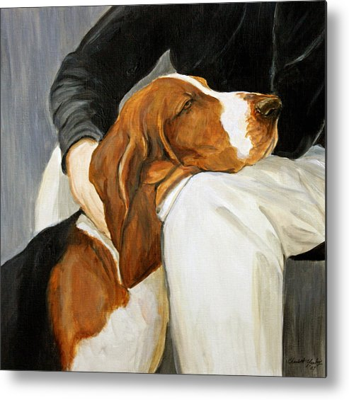 Basset Metal Print featuring the painting A Friend Indeed by Charlotte Yealey
