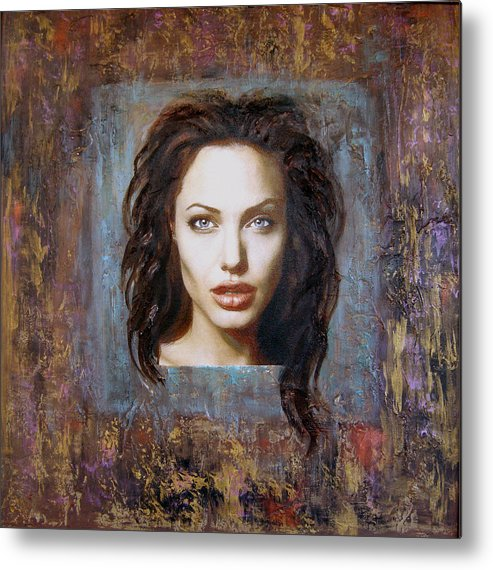 Portrait Metal Print featuring the painting Angelina Jolie by Jeannette Ulrich