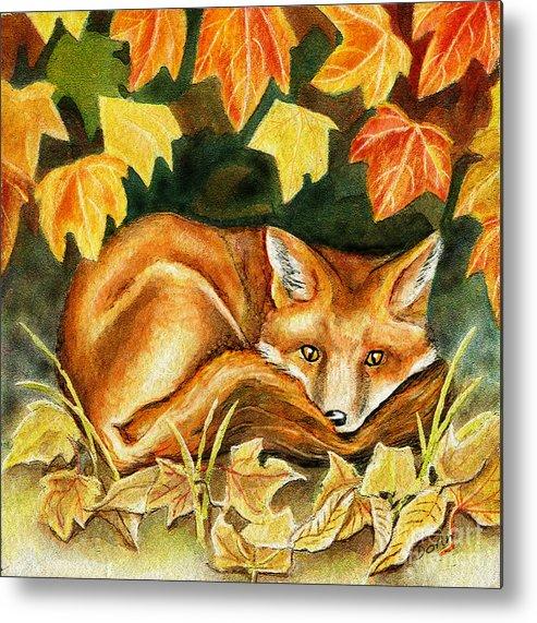 Autumn Metal Print featuring the painting Autumn Fox by Antony Galbraith