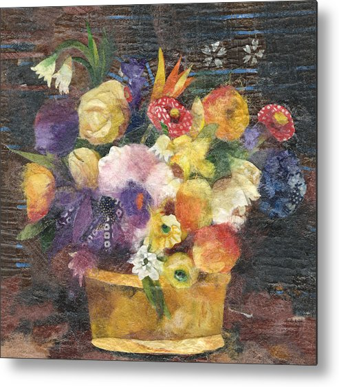 Limited Edition Prints Metal Print featuring the painting Basket With Flowers by Nira Schwartz