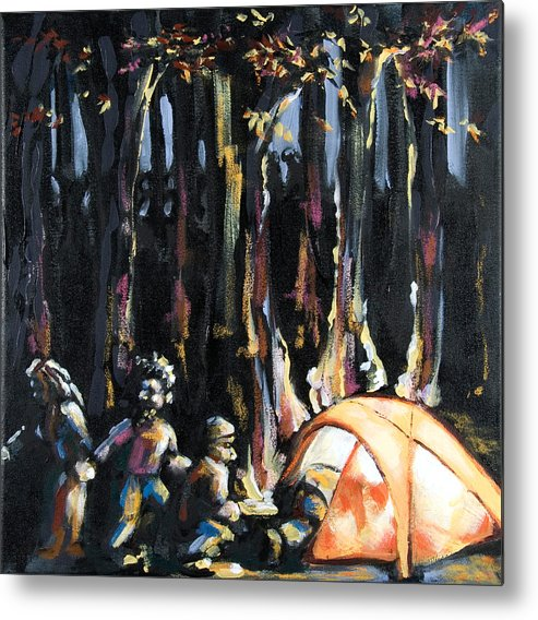 Tent Metal Print featuring the painting Big Orange Tent Part 1 by Dannielle Murphy