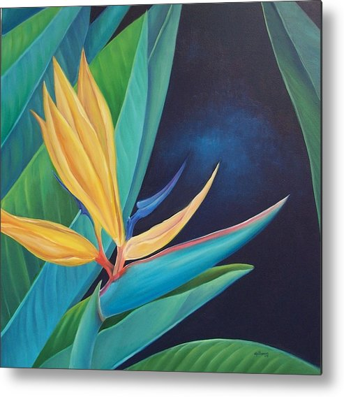 Flower Metal Print featuring the painting Bird Of Paradise by Elsa Gallegos