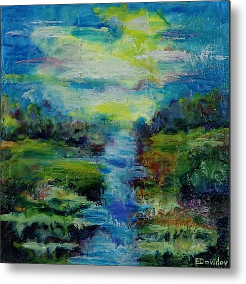 Water Metal Print featuring the painting Blue Landscape. by Evgenia Davidov