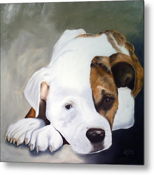 Metal Print featuring the painting Bulldog by Dick Larsen