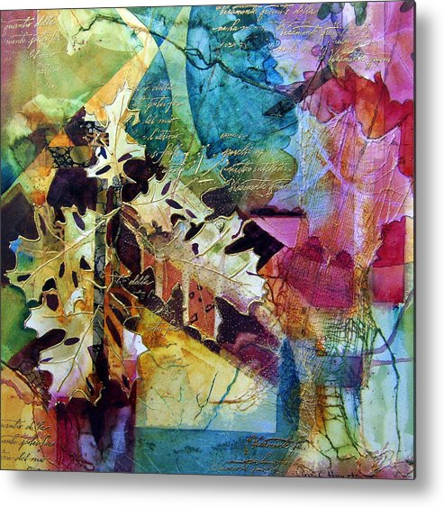 Watercolor Paper Collage Vibrant Color Leaves Metal Print featuring the painting Changing Times by Terry Honstead