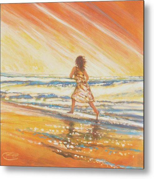 Running Metal Print featuring the painting Chasing The Surf by Kip Decker