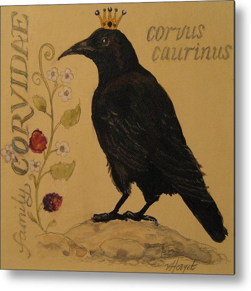 Crow Metal Print featuring the painting Corvus Caurinus by Victoria Heryet