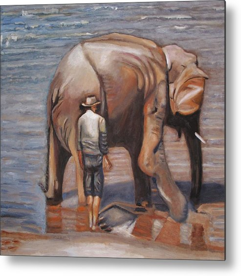 Elephant Metal Print featuring the painting Elephant Man by Keith Bagg