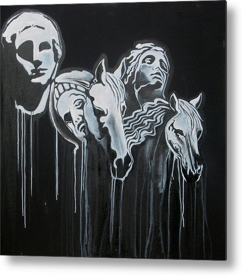B/w Metal Print featuring the painting Fade To Black And Remember Back... by Stephen Barry