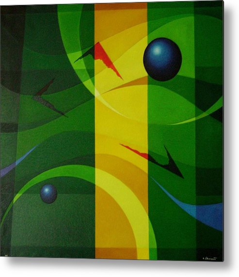 Geometric Abstract Metal Print featuring the painting Fragments Of A Soul - 2 by Alberto DAssumpcao