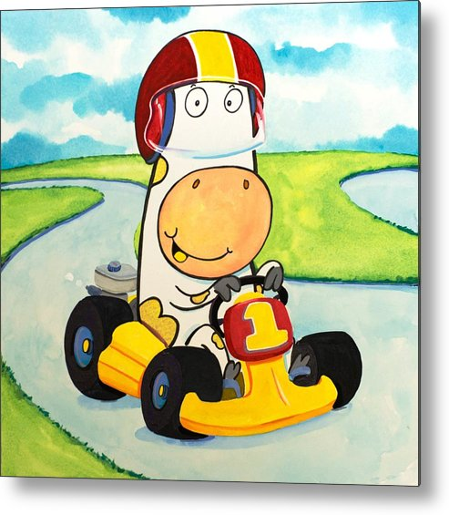 Cow Metal Print featuring the painting Go Cart Cow by Scott Nelson