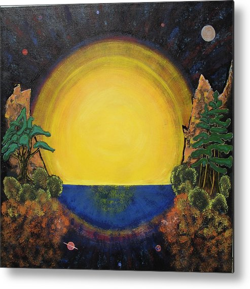 Sunset Mountain Cosmic Space Ocean Golden Metal Print featuring the painting High Mountain Sunset by Eric Singleton