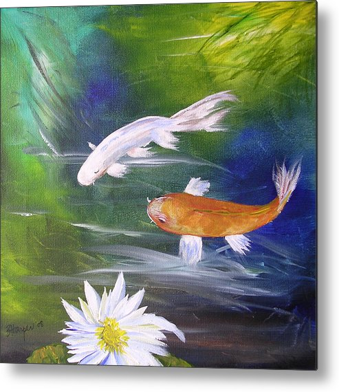 Painting Metal Print featuring the painting Kohaku Koi And Water Lily by Barbara Harper