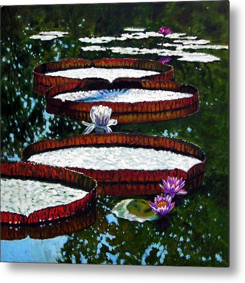 Garden Pond Metal Print featuring the painting Lily Pad Highlights by John Lautermilch