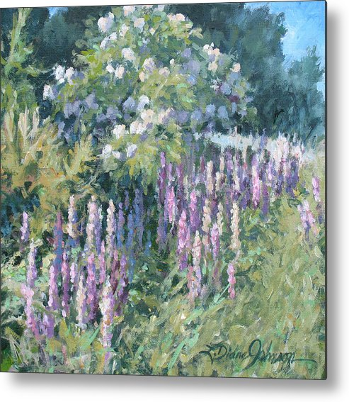 Lupine Field Metal Print featuring the painting Lupine On Parade by L Diane Johnson