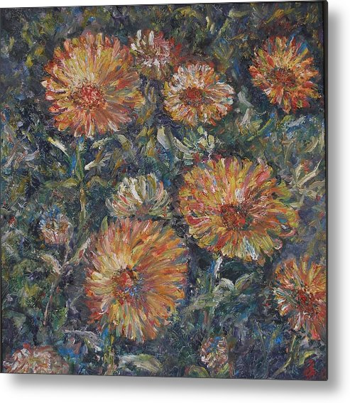 Flowers Metal Print featuring the painting Midnight Bloom by Wendy Chua