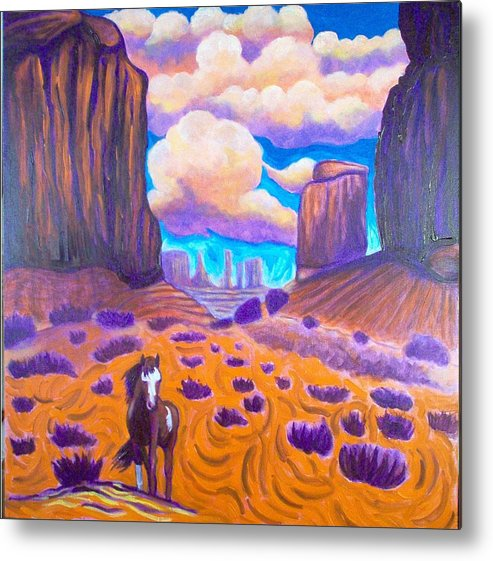 Landscape Metal Print featuring the painting Monument Valley by Steve Lawton