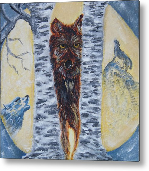 Wolves Metal Print featuring the painting Moon Of The Wolves by Margaret G Calenda