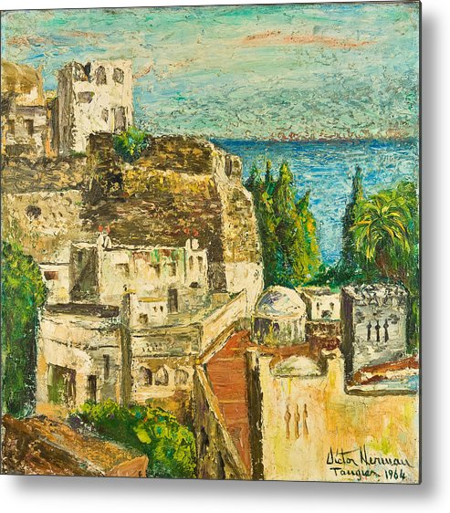 City Metal Print featuring the painting Morocco Palette Knife In Oil By Victor Herman by Joni Herman