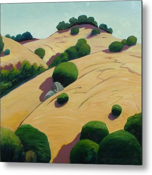 Rolling Hills Metal Print featuring the painting Oak Topped by Gary Coleman