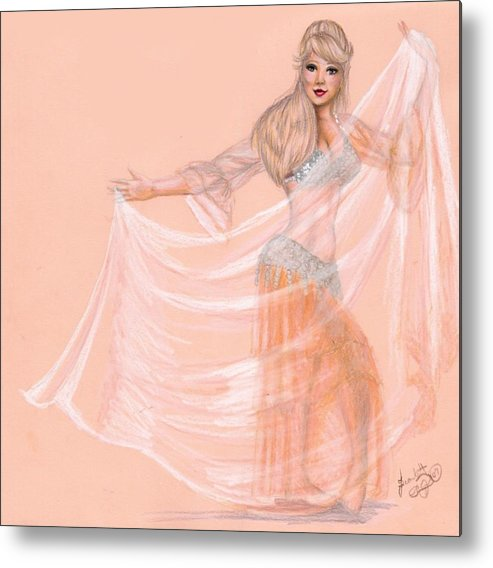 Belly Dancer Metal Print featuring the drawing Peachy Dancer by Scarlett Royal