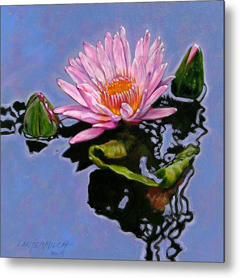 Water Lily Metal Print featuring the painting Pink Lily With Dancing Reflections by John Lautermilch