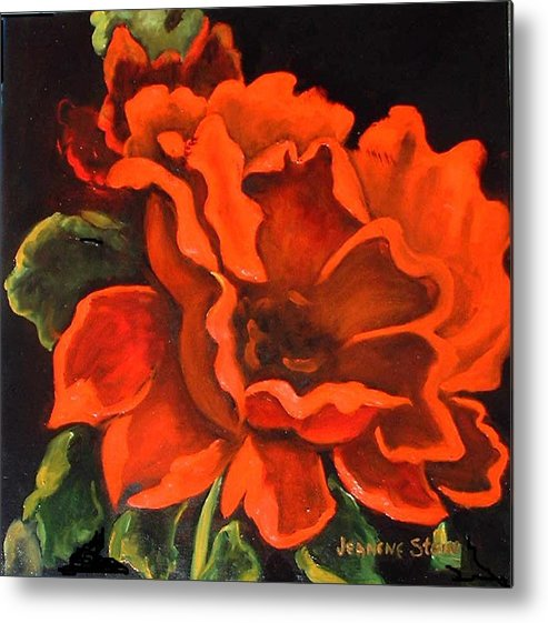 Red Flower Metal Print featuring the painting Red Flower by Jeanene Stein
