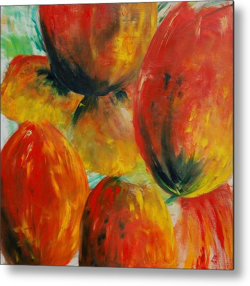 Metal Print featuring the painting Red Tulips by Veronique Radelet