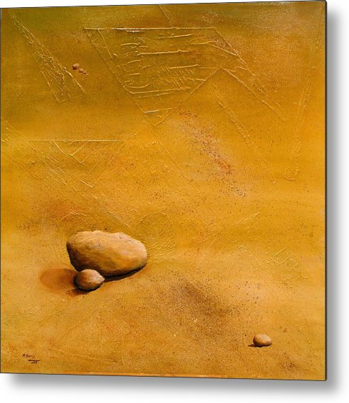 Stones Metal Print featuring the painting 'solitude' by marina Harris
