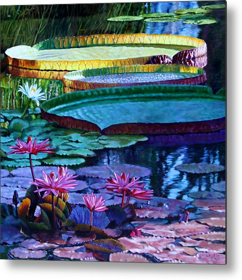 Garden Pond Metal Print featuring the painting Stillness Of Color And Light by John Lautermilch