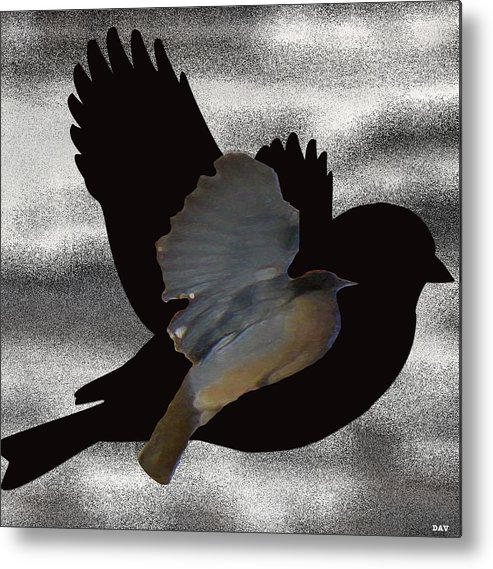 The Robin Flight Metal Print featuring the digital art The Robin Flight by Debra   Vatalaro