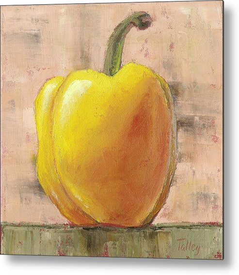 Yellow Metal Print featuring the painting Tuscan Yellow Pepper by Pam Talley