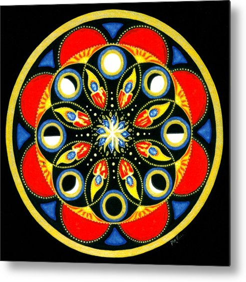 Meditative Mandala Metal Print featuring the painting Universal Light Mandala by Pam Ellis