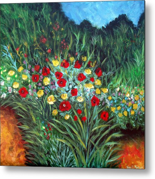 Abstract Metal Print featuring the painting Wildflower Garden 1 by Nancy Mueller