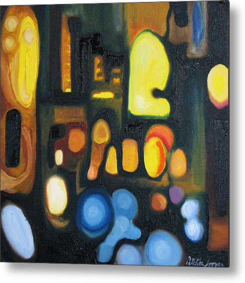 Abstract Metal Print featuring the painting Yellow And Blue by Patricia Arroyo