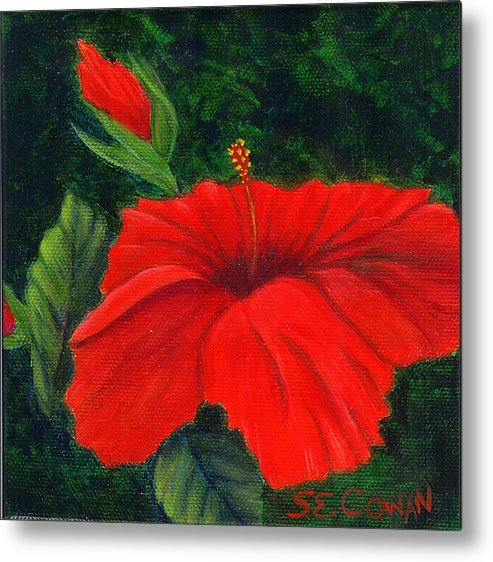 Floral Metal Print featuring the painting Red Hibiscus by SueEllen Cowan