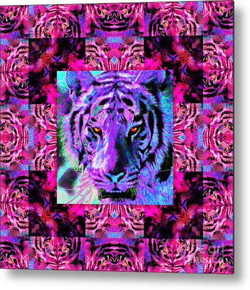 Tiger Metal Print featuring the photograph Eyes Of The Bengal Tiger Abstract Window 20130205p0 by Wingsdomain Art and Photography