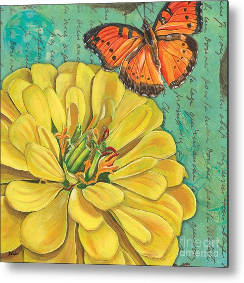 Floral Metal Print featuring the painting Verdigris Floral 2 by Debbie DeWitt