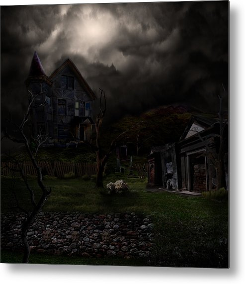 House Metal Print featuring the digital art Haunted House by Lisa Evans