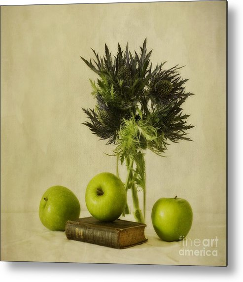 Apples Metal Print featuring the photograph Green Apples And Blue Thistles by Priska Wettstein