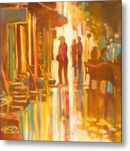 Shopping Metal Print featuring the painting Sidewalk Sale by Kip Decker